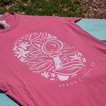 Pink Floral Espresso Seeds Coffee T-Shirt